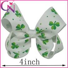Wholesale Four Leaf Clover Print 4 Inch Hair Bow With Alligator Clip CNHBW-13102419