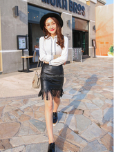2015 New black tassels leather skirt with High quality PU leather in Yiwu