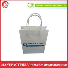 Custom Printed White Kraft Paper Packaging Shopping Bag with Twist Handle