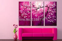 3 Panel floral decorative modern wall art Traditional Chinese Stylish Aesthetic wintersweet hand painted Canvas Oil Painting