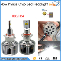 Hot Sale 4500lm 45w Led Headlight H4 H7 H8 H9 H11 9005 HB3 HB4 P hilip Chip With Fan Built In With Hi/Lo Beam