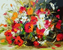 GX 7657 acrylic picture by numbers flower oil painting for sale