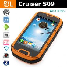 Cruiser S09 IP68 Quad Core Android 4.2 3G Dual card 8.0M Camera 4.3inch touch Screen verykool r80 rugged mobile phone