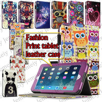 "For ipad Mini & 7.9"" Tablets Flowers/Tiger Printing PU Leather Media Stand Folio Book Case Cover + Stylus"
