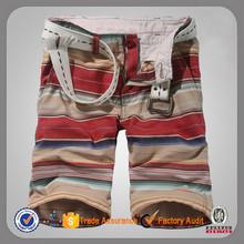 Stripe personalizado carga bermuda de algodão shorts curtos dos homens por atacado