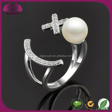 Cuff Ring With Pearl Adjustable Wedding Rings