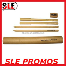 kraft paper pencil and pen set with sharpener