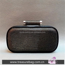 E1745C retro minimalist black and gold snake pattern embossed party box clutch frame