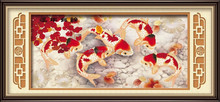 DIY crystal diamond painting with vivid fish picture design on the canvas