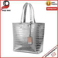 Women Crocodile PU Leather Shoulder Bag Ladies Casual Tote Sliver Handbag