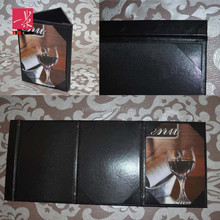 Black PU leather magnetic menu cover by three folder