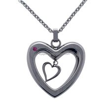 Heart Pendant Necklace with Pink Crystal in Satin Finished Stainless Steel necklace