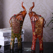 Mexico Resin Handmade Big Lucky Elephant Statue Wholesale Rustic Home Decor With Red Green Colorful Folk Art Crafts