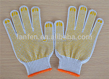 High quality cheap cotton safety hang gloves bleached cotton knitted gloves in 7 gauge PVC dot on single sides