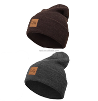 custom rib knit slouch beanie with leather patch