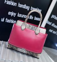 New model high quality snake skin lady PU leather handbag/tote bag