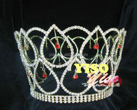 hair jewelry ornaments crystal bridal red dangling crystal full round crown tiara