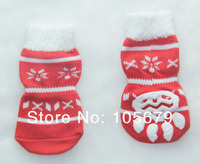 PS063 Christmas Fashion Dog Socks Pet Cat Socks 4 pcs/set Cotton Material Dog Pet Cat Shoes Mix Design and Mix Color