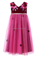2015 Newest Design Beautiful Kids Dresses Rose Color With Flower Princess Girls Dress For Baby Clothes Kids Wear