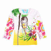 2-6Y (62145#WHITE) New winter high quality children clothes children s printed t shirts