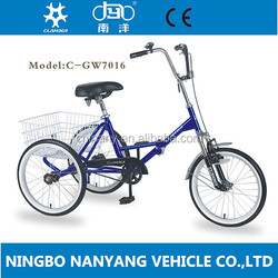 "GW7016 20"" adult folding bike tricycle/3 wheel pedal tricycle cargo bike"