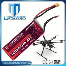 Upower 22.2v 10000mAh 6s 25C lithium battery pack for RC helicopter airplane UAV
