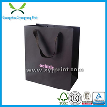 Popular branded custom made black shopping paper bag with handles