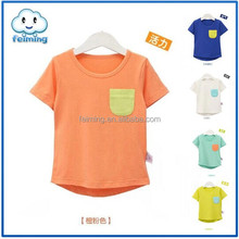 2015 hot sale summer fashion boys kids clothing cotton breathable color pocket T-shirt casual style