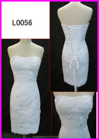 2014 guangzhou mini short knee length cord lace slim sheath wedding dresses for brides L0056