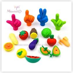 3d funny rub erasers set, fruit and vegetables shape erasers, stationery set