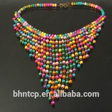 Barato moda regalo del Collar de bohemia estilo cuentas de madera de colores decorado cuello de la decoración de la joyería