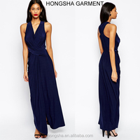 Fashion ladies long frock design wrap halter frocks for adults HSD7946