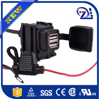 Phone Mp3 GPS Black Universal Waterproof Dual 2 USB Charger Power Adapter Socket 12-24V Outlet Power Jack Marine Motorcycles