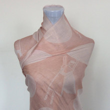 Different colors dance girl pattern raw silk scarf