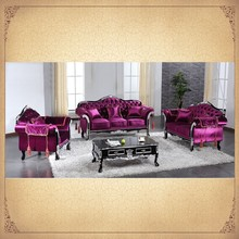 Bright Purple Color Fancy Vintage Sectional Sofa Set Lifestyle living Furniture Sofa