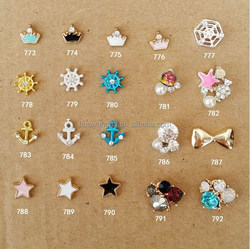 3D Metal Nail Art Decoration Alloy Bow Ring Jewelry With Shinning Rhinestones Nail Art Charm