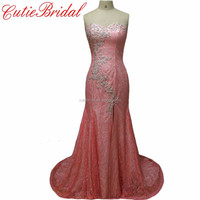 2016 Newest Fashionable Formal Evening Gown Sexy Slit Sheath Lace Crystals Evening Dresses