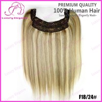 Best Peruvian Hair Fish Line Hair Extension Flip In Mixed Color For White Girl