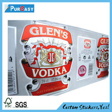 Beautiful printed silver foil paper Vodka label