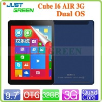 shenzhen Cube 9.7 inch IPS Retina I6 Air 3G Support Phone call tablet pc Wind8.1+Android 4.4 quad cores 2G 32G tablet android