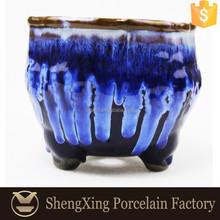 Blue Glazed Garden Pots Porcelain Flower Pot Designs Garden Decoration