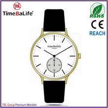 luxury design 2015 china products custom steel round case leather band gold 2 years warranty unisex wrist oen brand watch