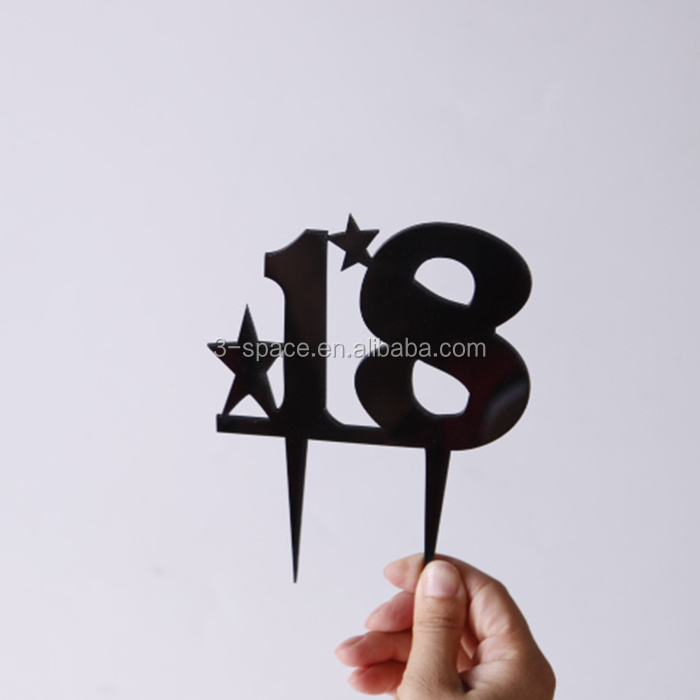Laser Cutting 18 Black Custom Acrylic Number Cake Topper For