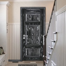 American ash solid wood bedroom door with black and siliver painted
