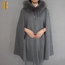 Nueva alta calidad del estilo de moda de lana Poncho con piel de mapache recorte