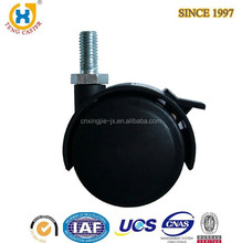 2-inch Dual Wheel Nylon small furniture casters with Brake