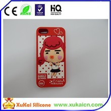 silicone red embossed girl phone case