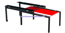 tempered red and black glass top sandblast leg extended coffee table