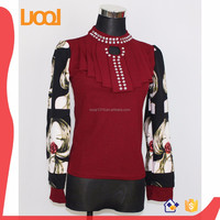 fashion women's tops trendy lady blouse high neck decent blouses with long sleeves