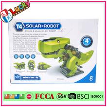 Education DIY toys solar robot kit 4 in 1 solar toy 3D plastic handmade dinosaur toys